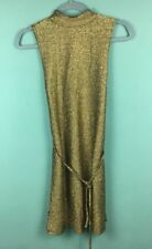 Topshop Gold Metallic High Neck Sleeveless Belted Mini Dress Size 8 - B36