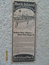 (1926 Original Ad) Rock Island Implements (Rakes Hay Clean, Does Not Rope)