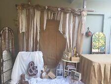 Ivory  Backdrop Shabby Chic Fabric Burlap ,lace Garland Wedding Ivory Assymmetr