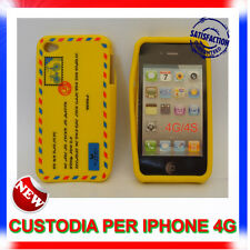 Custodia + Pellicola silicone AIRMAIL GIALLA per IPHONE 4G