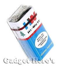 2 Pcs. HI-WATT, 9V, 6F22M, Zinc Carbon, Long Life, General Purpose, Batteries .