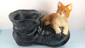 Old Leather Shoe with Yellow Cat Planter or Yard Ornament