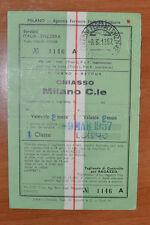 BIGLIETTO TRENO - FERROVIE - TRAIN TICKET - 1957 - CHIASSO / MILANO (B3)