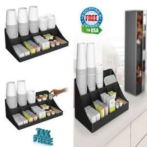 Coffee Station Condiment Shelf Bar Organizer for Office Home Breakroom Table Set