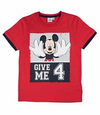 Boys Disney Mickey Mouse T Shirt Kids Short Sleeve Red Blue Ages 2 3 4 5 6 7 8 3-4 Years Navy