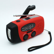 RECHARGEABLE RADIO SOLAR CRANK SOLAR USB POWERED WITH AM FM S+ PHONE CHARGER