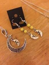 sterling silver chain tibetan moon/beads yellow pendant earring set