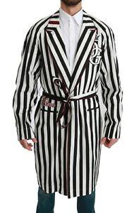 DOLCE & GABBANA Robe Cotton White Black Coat Nightgown IT46 / US S RRP $2200