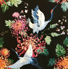2 single paper napkins for decoupage crafts Servietten Birds asia flowers black