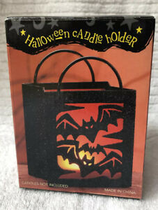 Costco Halloween Metal Glitter Candle Holder Bats Silhouette Candle Not Included