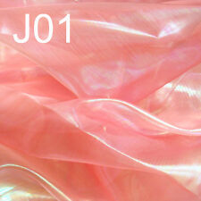 J01 (Sell Per Yard) Red Orange Shiny Organza Decor Curtain Fabric Material