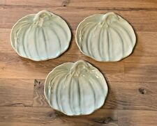 "X3 Pottery Barn Rustic Thanksgiving Appetizer Salad Pumpkin Plates 9"" Green"