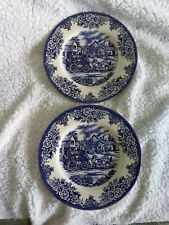 """Royal Stafford Stage Coach Scene Blue Earthenware 2 Salad Plates 8 1/4"""""""
