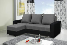corner sofa bed grey fabric black Eco leather living room
