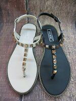 "Jelly Sandal ""BASEL"" Women's Thong Flat Slingback T-Strap Gold Studs by Ann More"