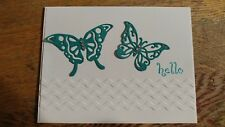 Handmade HELLO card, Any Occasion Stampin up Small Sayings, Butterfly, embossed