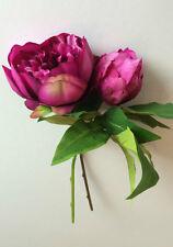 Pair of Purple/Deep Pink Artificial Peonies. Realistic Faux Silk Peony Flowers