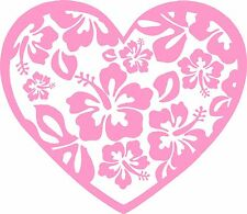 Heart with Hibiscus Cutouts in Pink Vinyl for your Car Window, Computer