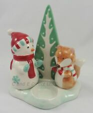 Christmas Decorations Woodland Snowman & Fox Tealight Holder Christmas Candle