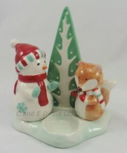 Decorazioni Natalizie Woodland Pupazzo di Neve & Fox Lumino Porta Candela Natale