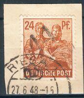 SBZ-Bezirkshandstempel, Briefstück Mi.-Nr.174, 14 Riesa, pracht