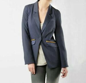Free People Sz 10 Charcoal Gray Studded Pockets Womens Blazer Jacket