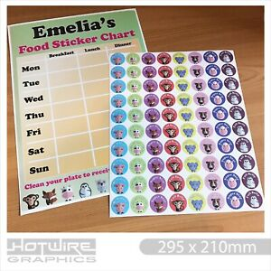 PERSONALISED Childrens Mealtime Food Sticker Chart & Reward Stickers