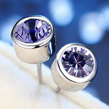 18K GOLD GF MENS LADIES PURPLE ROUND STUD EARRINGS made with SWAROVSKI CRYSTAL