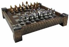 Egyptian Anubis Gold & Silver Chess Men Set W/ Color Accents & Castle Board