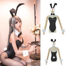 Rascal Sakurajima Mai Costume Bunny Girl Black Leather Bodysuit Women Cosplay