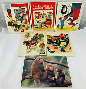 1960's Playskool Puzzles Farming and Animals Complete in Great Cond FREE SHIP
