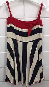 Tiny Bubbles Size 18m (1) Modern Sailor Dress Party Striped Navy Blue Red Baby