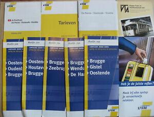 10 Belgian Bus & Tram Timetables Maps Leaflets 2000 - 2010 De Lijn Set 4