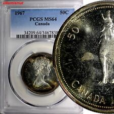 Canada Elizabeth II Silver 1967 50 Cents PCGS MS64 NICE TONING PROOF LIKE KM# 69