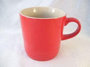 Le Creuset Cherry RED Coffee Mug Stoneware 12oz Cerise