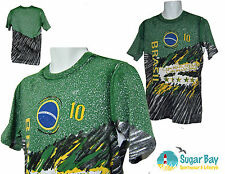 NIKE BRAZIL BRASIL Football Graphic  Cotton T Shirt Green M