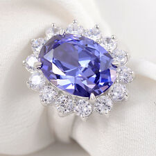6CT Blue Tanzanite White Topaz 925 Sterling Silver Gemstone Ring Size 7 Cocktail