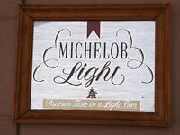 MICHELOB LIGHT BEER MIRROR BAR MAN CAVE SIGN LIGHT WOOD FRAME ADVERTISING