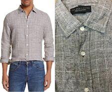 $98 Bloomingdales The Mens Store Linen Glen Plaid Regular Button Down Shirt XL