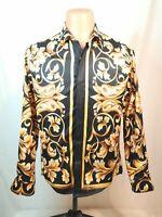 Mens Pizoff Long Sleeve Button Down Dress Shirt Black / Gold NWOT Size Medium