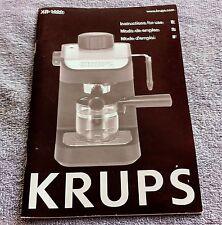 Krups XP-1020 XP1020 Espresso Coffee Machine User Manual - Instruction Book