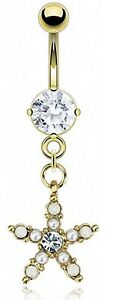 NEW & SEALED Pearl Gold Star dangle belly navel bar ring