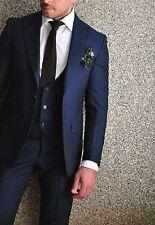 Navy Blue Men's Suit Wedding Groomsmen Tuxedo Groom Wear Business Best Men Suit