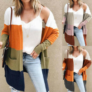 Women Open Front Cardigan Colorblock Long Sleeve Loose Knit Lightweight Sweaters