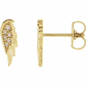 Diamant Ange Aile Earrings IN 14K or Jaune