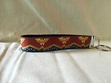 "Wonder Woman #9 Inspired Key Fob Wristlet Key Chain 1"" with Designer Ribbon"