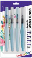 Pentel Arts Aquash Water Brush Set Small Medium Large & Flat Tips