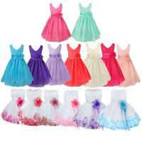 Flower Girls Dress Baby Kids Party Wedding Bridesmaid Formal Princess Bow Dress