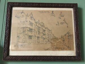Original Drawing Guildford Grammar School 1831 Victorian Art Oak Frame Antique
