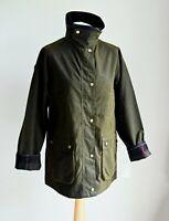 Women's BARBOUR Acorn Wax Jacket Short Waterproof Olive green size UK 14 EUR 40
